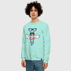 Свитшот хлопковый мужской OBEY Hipster цвета мятный — фото 2