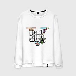 Свитшот хлопковый мужской GTA 5: City цвета белый — фото 1