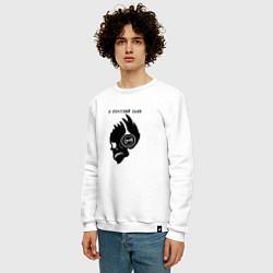 Свитшот хлопковый мужской Сметана band грустный панк цвета белый — фото 2