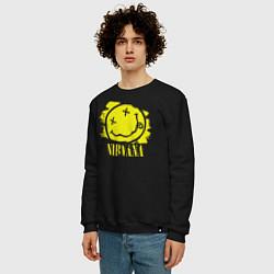 Свитшот хлопковый мужской Nirvana Smile цвета черный — фото 2