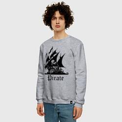 Свитшот хлопковый мужской Пират цвета меланж — фото 2