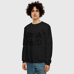 Свитшот хлопковый мужской Led Zeppelin: symbols цвета черный — фото 2