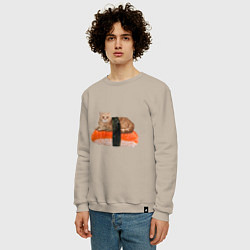 Свитшот хлопковый мужской Котосуши цвета миндальный — фото 2