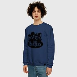 Свитшот хлопковый мужской The Beatles Band цвета тёмно-синий — фото 2