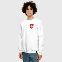 Свитшот хлопковый мужской Погоня: герб цвета белый — фото 2