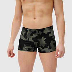 Мужские плавки Камуфляж пиксельный: черный/серый цвета 3D — фото 2