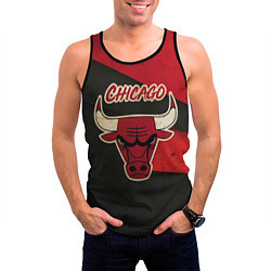 Мужская 3D-майка без рукавов с принтом Chicago Bulls: Old Style, цвет: 3D-черный, артикул: 10153088704123 — фото 2