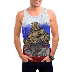 Майка-безрукавка мужская Русский медведь цвета 3D-белый — фото 2