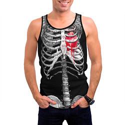 Майка-безрукавка мужская Скелет с сердцем цвета 3D-черный — фото 2