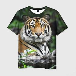 Футболка мужская Тигр в джунглях цвета 3D-принт — фото 1