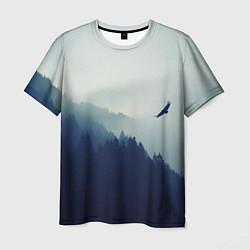 Футболка мужская Орел над Лесом цвета 3D-принт — фото 1