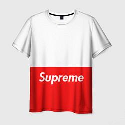 Футболка мужская Supreme: White & Red цвета 3D — фото 1