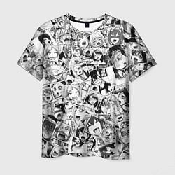 Футболка мужская Ahegao: Black & White цвета 3D — фото 1