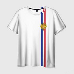 Футболка мужская Франция: лента с гербом цвета 3D-принт — фото 1