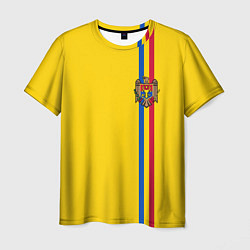 Футболка мужская Молдавия: лента с гербом цвета 3D-принт — фото 1