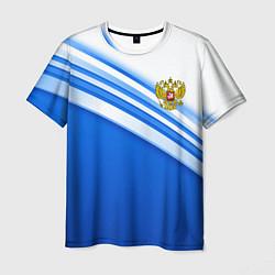 Футболка мужская Россия: голубая волна цвета 3D — фото 1