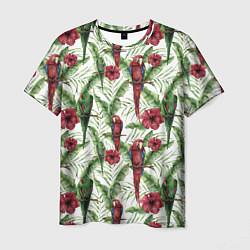 Мужская 3D-футболка с принтом Попугаи Ара, цвет: 3D, артикул: 10173457103301 — фото 1
