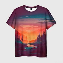 Футболка мужская Minimal forest sunset цвета 3D-принт — фото 1