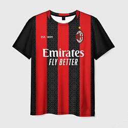 Футболка мужская AC MILAN 2021 - ДОМАШНЯЯ цвета 3D-принт — фото 1