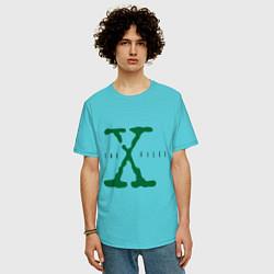 Футболка оверсайз мужская The X-files цвета бирюзовый — фото 2