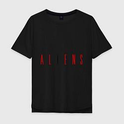 Мужская удлиненная футболка с принтом ALIENS, цвет: черный, артикул: 10010162605753 — фото 1
