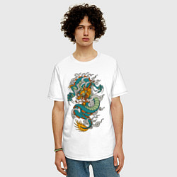Футболка оверсайз мужская Дракон цвета белый — фото 2