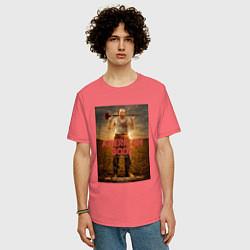 Футболка оверсайз мужская American Gods: Czernobog цвета коралловый — фото 2