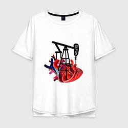 Футболка оверсайз мужская Сердце нефтяника цвета белый — фото 1