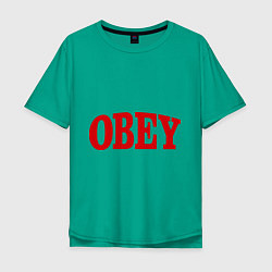 Футболка оверсайз мужская OBEY цвета зеленый — фото 1
