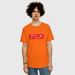 Футболка оверсайз мужская Anime Supreme цвета оранжевый — фото 2