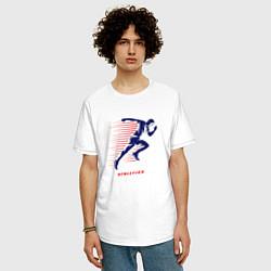 Мужская удлиненная футболка с принтом Fast Run, цвет: белый, артикул: 10156058105753 — фото 2