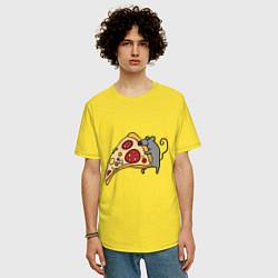 Футболка оверсайз мужская Кусочек пиццы парная цвета желтый — фото 2