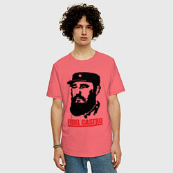 Футболка оверсайз мужская Fidel Castro цвета коралловый — фото 2