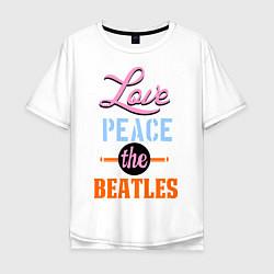 Футболка оверсайз мужская Love peace the Beatles цвета белый — фото 1
