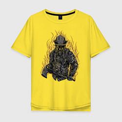 Футболка оверсайз мужская Пылающий пожарный цвета желтый — фото 1