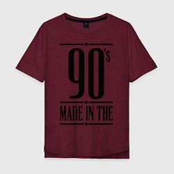 Футболка оверсайз мужская Made in the 90s цвета меланж-бордовый — фото 1