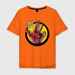 Футболка оверсайз мужская Spiderweb цвета оранжевый — фото 1