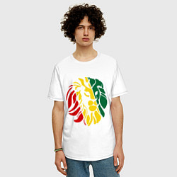 Футболка оверсайз мужская Раста лев цвета белый — фото 2