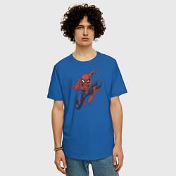 Футболка оверсайз мужская Человек-паук цвета синий — фото 2