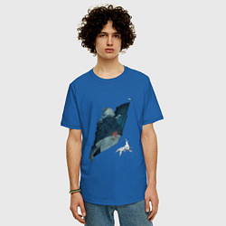 Футболка оверсайз мужская Бегущий по лезвию цвета синий — фото 2