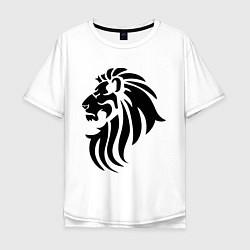 Мужская удлиненная футболка с принтом Лев тату, цвет: белый, артикул: 10036590005753 — фото 1