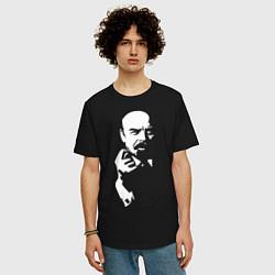 Футболка оверсайз мужская Ленин: фигу вам цвета черный — фото 2