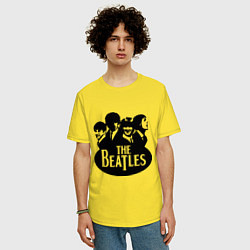 Футболка оверсайз мужская The Beatles Band цвета желтый — фото 2