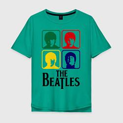 Футболка оверсайз мужская The Beatles: Colors цвета зеленый — фото 1