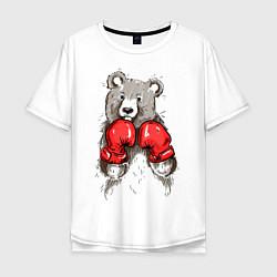 Футболка оверсайз мужская Bear Boxing цвета белый — фото 1