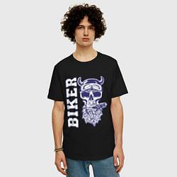 Мужская удлиненная футболка с принтом Biker, цвет: черный, артикул: 10053825005753 — фото 2