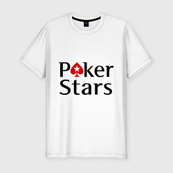 Футболка slim-fit Poker Stars цвета белый — фото 1