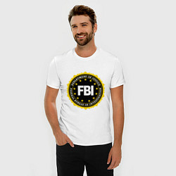 Футболка slim-fit FBI Departament цвета белый — фото 2