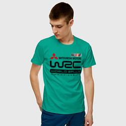 Футболка хлопковая мужская Mitsubishi wrc цвета зеленый — фото 2