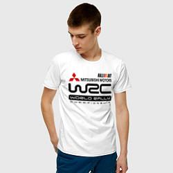 Футболка хлопковая мужская Mitsubishi wrc цвета белый — фото 2